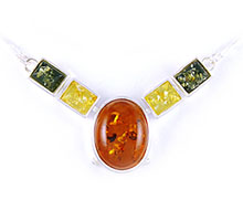 Amber & Silver Necklace Art.ASN002