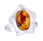 Amber & Silver Ring Art.ASR003