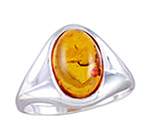 Amber & Silver Ring Art.ASR004