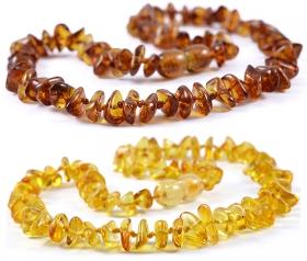2 Pieces Cognac & Lemon Chips Baltic Amber Teething Necklace