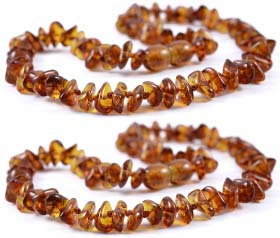 2 Pieces Cognac Chips Baltic Amber Teething Necklace