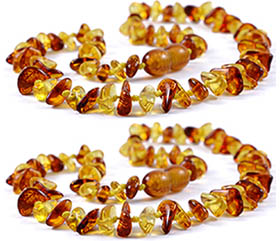 2 Pieces Cognac/Lemon Chips Baltic Amber Teething Necklace