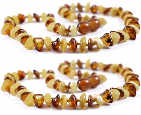 2 Pieces Cognac/White Chips Baltic Amber Teething Necklace
