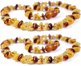 2 Pieces Cognac/Lemon/White Chips Baltic Amber Teething Necklace