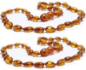 2 Pieces Cognac Oval Beads Baltic Amber Teething Necklace