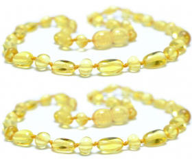 2 Pieces Lemon Oval-Baroque Beads Baltic Amber Teething Necklace