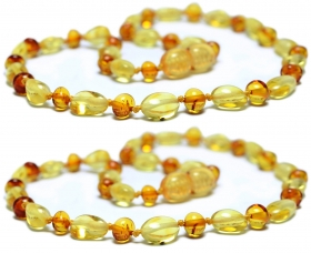 2 Pieces Lemon Oval/Cognac Baroque Beads Baltic Amber Teething Necklace