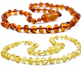 1 Piece Cognac & 1 Piece Lemon Baroque Baltic Amber Teething Necklaces