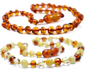 2 Pieces Cognac & Cognac/Lemon/White Baroque Baltic Amber Teething Necklace