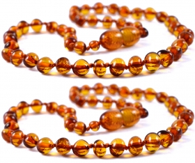 2 Pieces Cognac Baroque Beads Baltic Amber Teething Necklace