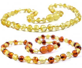 2 Pieces Lemon & Cognac/Lemon Baroque Baltic Amber Teething Necklace