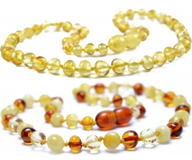 2 Pieces Lemon & Cognac/Lemon/White Baroque Baltic Amber Teething Necklace