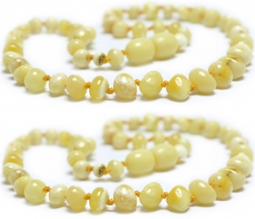 2 Pieces White/Matt Baroque Beads Baltic Amber Teething Necklace