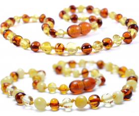 2 Pieces Cognac/Lemon & Cognac/Lemon/White Baroque Baltic Amber Teething Necklace
