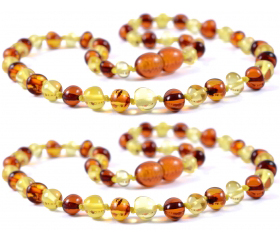 2 Pieces Cognac/Lemon Baroque Beads Baltic Amber Teething Necklace
