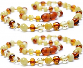 2 Pieces Cognac/Lemon/White Baroque Beads Baltic Amber Teething Necklace