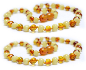 2 Pieces Cognac/White Baroque Beads Baltic Amber Teething Necklace